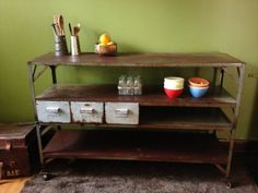 Up-cycled and restored steel bench, with the addition of wheels and pale grey steel drawers. It has been coated to seal and prevent further rusting. Shop Fittings, Industrial Furniture, Upcycled Furniture, Furniture, Kitchen Sideboard, Interior, Steel Sideboards, Sideboard, Steel Bench
