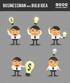 Businessman With Bulb Idea — Vector EPS #creative #innovation • Available here → https://graphicriver.net/item/businessman-with-bulb-idea/3287692?ref=pxcr