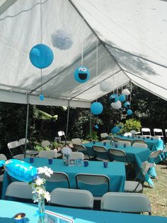 How To Decorate A Wedding Reception Tent   ... hung from the tent. The table linens were rented from Create A Party