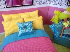 5 Piece Set  Pink Yellow and Blue  by FroggyStuff on Etsy