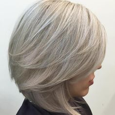 Silver Blonde Bob With V Cut Layers