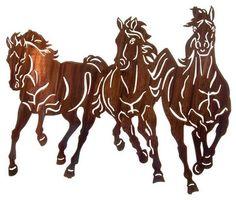 Thunderstorm 22-inch Western Mustang Metal Art, Kathryn Darling rustic-artwork