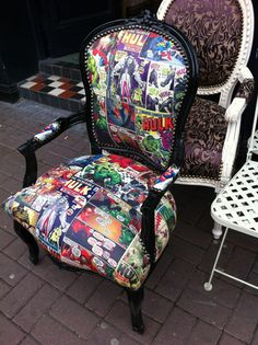 comic book fabric chair - Hulk OMG one day I will reupholster a chair like this!!