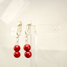Handmade earrings candy apple red beads faux pearls clip on or pierced Pat2 #Pat2 #DropDangle