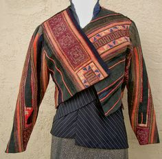 Diane Ericson's #118 FaultLines Pattern in Ghong Cloth from the Golden Triangle, with the undershirt in mens suiting.
