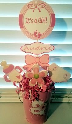 It's a Girl! Baby Shower Centerpieces-Set of 5 by MythicalByNaomi on Etsy
