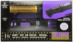 Hot Tools HT1074 Anti-Static Ionic Hot Air Brush with Ion Technology, 1000 watt, 1 1/2 inches anti-static ionic hot air brush with ion technology, increased softness and shine, reduced frizz. Included concentrator attachment for fast spot drying. #TrendyGiftIdeas