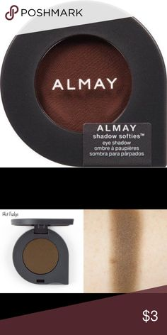 "Almay Shadow Softie - HOT FUDGE (130) Almay Shadow Softies have a hypoallergenic, ""whipped powder"" formula that is supposed to feel super lightweight and ""cushiony soft"" while offering a sheer, crease-free wash of color!  * Hot Fudge – Mostly-matte chocolate brown. Sheer but easy to build up. Almay Makeup Eyeshadow"