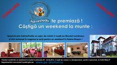 Rezervă prin AdminPedia un sejur de minim 5 nopţi pe litoralul românesc până la 1 iunie şi intri automat în tragerea la sorţi pentru un weekend în Poiana Braşov la Hotel Miraje 4*.  Pentru mai multe detalii accesează regulamentul oficial aflat pe www.pe-drumuri.ro.