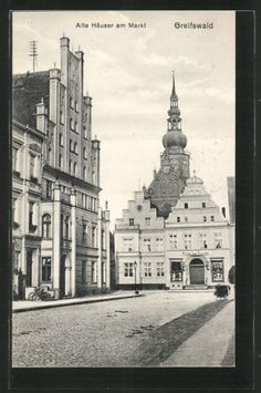 tolle-AK-Greifswald-Alte-Haeuser-am-Markt-1915