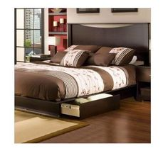 NEW  Back Bay Queen Storage Platform Bed Set in Dark Chocolate Finish Bedroom