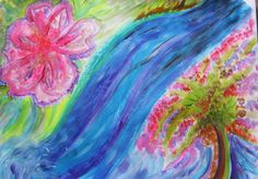 Is your creative flow blocked? Take a walk in nature and notice 5 ways that nature flows. www.alivewithcreating.com  Intuitive painting by Carol Lorraine
