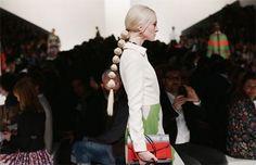 Valentino sent this fun segmented ponytail hairstyle down the runway during Paris Fashion Week Fall 2014 | allure.com