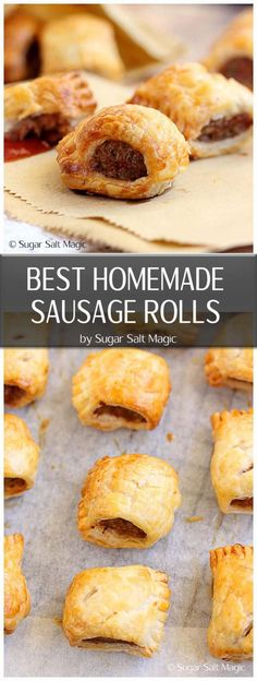 An easy 5 ingredient recipe for the best homemade sausage rolls ever by Sugar Salt Magic. Such a perfect, easy snack. via snacks savory The Best Homemade Sausage Rolls - just 5 ingredients Vol Au Vent, Savory Snacks, Easy Snacks, Homemade Sausage Rolls, Best Sausage Roll Recipe, Healthy Sausage Rolls, 5 Ingredient Recipes, Comfort Food, Appetisers