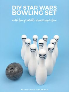Awaken the force within your child and give them a fun game to play with this Star Wars DIY bowling set. Click through to download the free printable stormtrooper faces and make this fun toy today!
