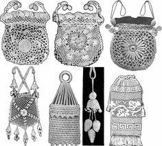 irish+crochet+patterns | Details about Irish Crochet Book Purse Patterns WWI Titanic Bags 1912