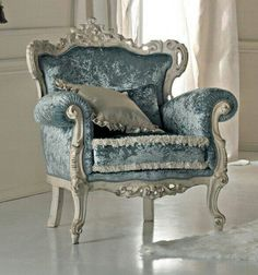 Paris collection Rococo armchair in baby blue crushed velvet on a white distressed carved frame from solid walnut. French Furniture, Shabby Chic Furniture, Dining Room Furniture, Rustic Furniture, Vintage Furniture, Painted Furniture, Furniture Design, Muebles Shabby Chic, Vintage Chairs