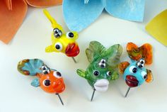 Lampwork Bead Pushpin Set   'Funky Fish' by RoxeMarie on Etsy, $21.60