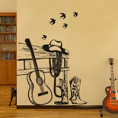 Guitar cowboy household adornment wall stickers wholesale black creative classroom art school, decorative stickers #Affiliate