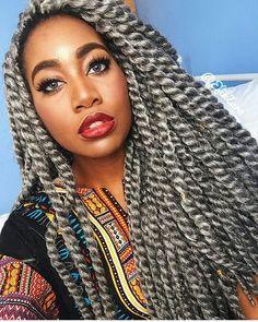 @efikzara Grey Jumbo Senegalese Twist Grey Crotchet Twist
