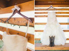 "© Anna Lee Media | Oklahoma Wedding Photographer, wedding dress, outside, cowboy boots, ruffles, textured skirt, custom hanger with bride's new last name, ""Mrs."""