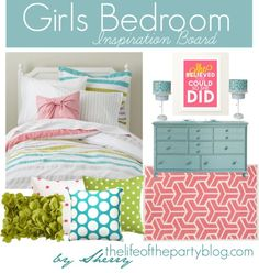 Girls Bedroom.  kids rooms.  home decor and interior decorating ideas.