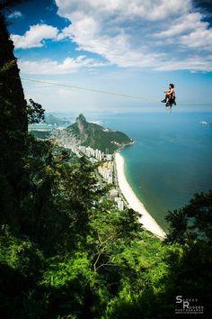 Slacklining, in Rio de Janeiro, Brasil...