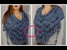 (50) [Tuto] Poncho châle au tricotin circulaire / Point Echelle - E-Jersey - YouTube