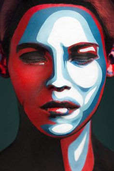 Alexander-Khokhlov-art-of-face-3 Russian photographer Valeriya Kutsan in collaboration with the make-up artist Valeriya Kutsan has created this series of modern-art inspired photos of models with their faces painted to appear as two-dimensional…