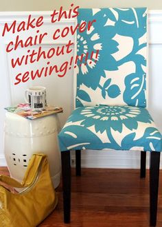 LoveYourRoom: My Morning Slip Cover Chair Project Using Remnant Fabric (no sewing needed!) wonder if i can do this to dining room chairs Dinning Room Chair Covers, Dining Chair Slipcovers, Dining Room Chairs, Slipcover Chair, Office Chairs, Office Desk, Upholstered Chairs, Chair Cushions, No Sew Slipcover