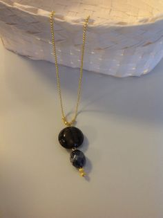 stone and gold plt necklace boho jewelry by Arielior on Etsy, $18.00