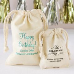 Personalized Natural Cotton Birthday Favor Bag by Beau-coup