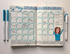 May Monthly Spread Green Theme, Bullet Journal Spread, Bullet Journal Inspiration, Bullets, May, Spreads, Bujo, Instagram Feed, Lilac