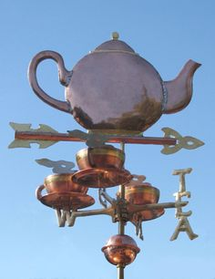 Teapot Weathervane with Three Cups and TEA