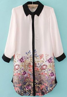Light Pink Long Sleeve Contrast Trims Floral Chiffon Blouse