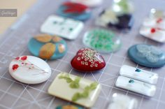 dried plants, pressed tiny flowers, foliage and different kind of plastic in resin