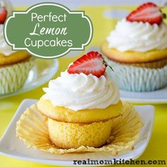Perfect Lemon Cupcakes with Lemon Buttercream~ Cake: 1 package lemon cake mix 1 cup sour cream ¾ cup water ¾ cup oil 4 eggs 1 small package lemon instant pudding Lemon Buttercream Frosting: 1 cup (2 sticks) butter, very soft 6-8 cups powdered sugar ½ cup fresh lemon juice 1 teaspoon grated lemon zest Berries, optional fro garnish