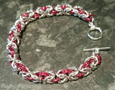 Byzantine Chainmaille Bracelet  <Red/Silver> anodised aluminium. £20 https://www.facebook.com/Craft.A.Luscious/ x