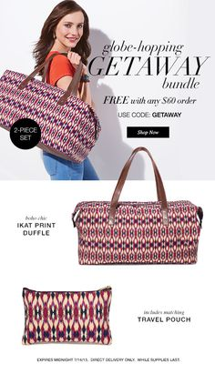 Today is the day, Get Away in Style with this Free Gift from Avon. With any $60 order on my eStore, Offer expires midnight 7/14. Use Code: GETAWAY at: maromire.avonrepresentative.com. #GetAway, #FreeOffer, #Avon
