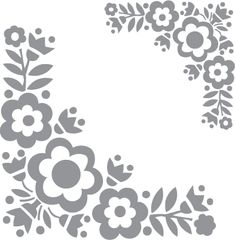 Glass etching stencil of Floral Corner Design. In category: Birds & Flowers, Flowers, Vines & Natural