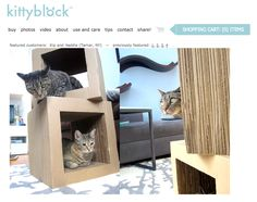 kittybock modern cat loungers and scratchers http://ihavecat.com/2012/11/21/kittyblocks-modern-cat-loungerscratcher-combo/