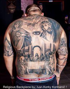 #IvanKorkyKorivanick #HugeB&G #AmazingDetail #ReligiousTheme #LastSupper #MotherMary #Jesus #FlyingDove #BackPiece