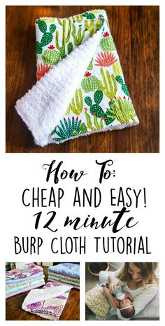 baby diy I never imagined I had everything already laying around the house to make these! How to: Cheap and Easy 12 Minute Baby Burp Cloth Tutorial - DIY Quilt Baby, Baby Quilts Easy, Baby Sewing Projects, Sewing Projects For Beginners, Baby Sewing Tutorials, Quilt Tutorials, Sewing Tips, Sewing Ideas, Dress Tutorials