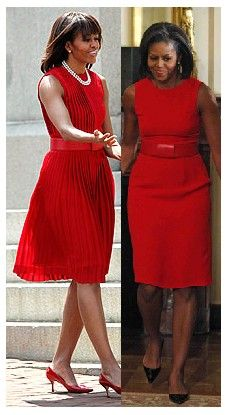 red belt with two different red dresses, worn by Michelle Obama