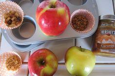 Apples, caramel, peanuts, walnuts, sunflower seeds