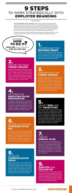 Nine steps to work strategically with employer branding.