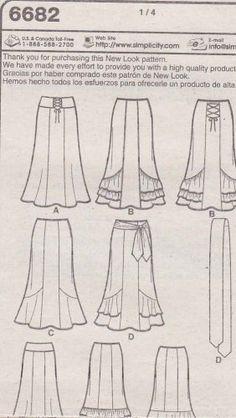 New Look Sewing Pattern 6682 Misses Size 6-16 Gored Skirt Hemline Ruffles Drapes Ties Flamenco Skirt Pattern, Fashion Sewing, Diy Fashion, Sewing Clothes, Diy Clothes, Couture, Gored Skirt, How To Make Skirt, Vintage Sewing Patterns