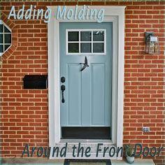 best front door colors for brick homes Ocean Front Shack Updating a Front Door with Molding Front Door Molding, Front Door Trims, Brick Molding, Painted Front Doors, Diy Molding, Best Front Door Colors, Best Front Doors, Exterior House Colors, Exterior Doors