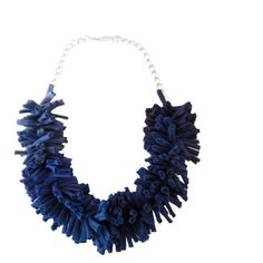 Blue Statement Necklace, Fabric Art Jewelry, T Shirt Yarn Jewelry,... ($30) ❤ liked on Polyvore featuring jewelry, necklaces, chain statement necklace, statement necklace, chain necklace, blue statement necklaces and blue chain necklace