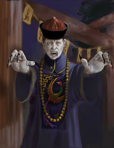 """A jiangshi, also known as a Chinese """"hopping"""" vampire or zombie, is a type of reanimated corpse in Chinese legends and folklore.It is typically depicted as a stiff corpse dressed in official garments from the Qing Dynasty, and it moves around by hopping, with its arms outstretched. It kills living creatures to absorb their qi, or """"life force"""", usually at night, while in the day, it rests in a coffin or hides in dark places such as caves"""
